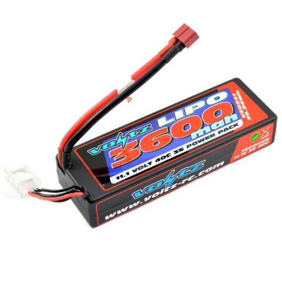 Voltz 3600mah Hard Case Low Profile 3S 11.1V 40C LiPo Pack - Deans