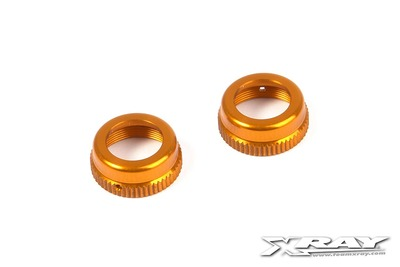 XRay T4 Alu Shock Cap-Nut With Vent Hole - Orange (2)