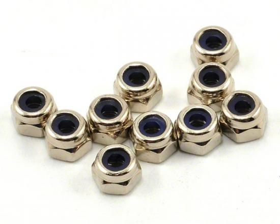 Axial M2.5 Nylon Locking Hex Nut - Silver (10pcs)